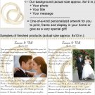 Personalized artwork: wedding rings design + your photo + your message