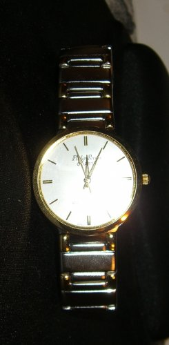MENS PERSIO SILVERTONE & GOLDTONE LUXURY ULTRA THIN WATCH  PRE- OWNED