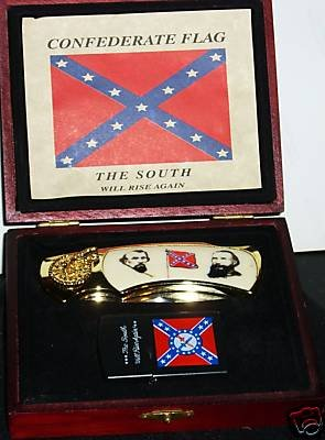 "COLLECTIBLE FOLDING KNIFE & LIGHTER IN WODEN CASE ""THE SOUTH WILL RISE AGAIN """