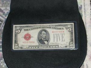 1928E Legal Tender VF $5.00 Dollar Bill RED SEAL