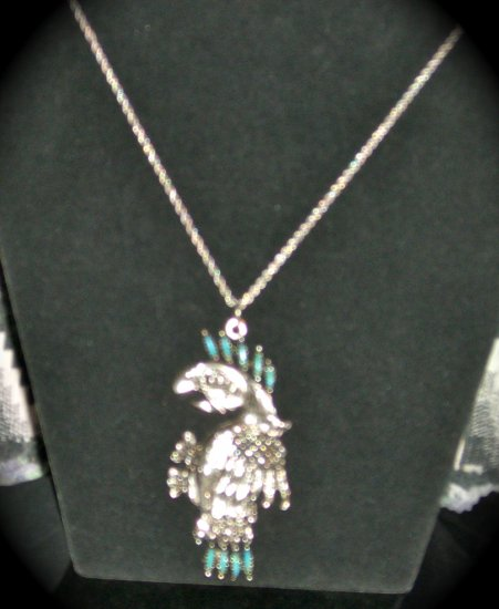 Silver & Turquoise Myan Parrot on .925 silver rope chain