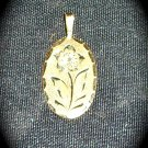 Gold 14 kt. GFPPG Etched Rose Pendant & Gold Tone Chain