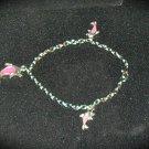 Designer Bracelet Silver Tone & Pink Dolphins