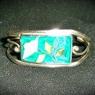 Vintage Alpaca Half cuff shell Bracelet
