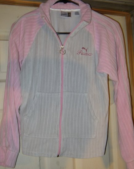 Womens Puma Gray & Pink Velour zipup warm up jacket XL