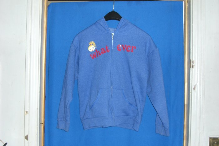 Hanes Her Way Stay Clean Blue What Ever Zip up Hooded Sweatshirt
