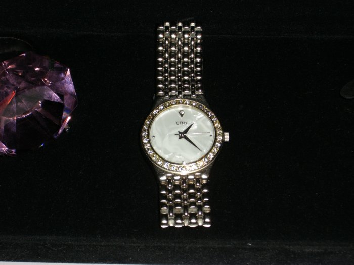 CTNY Designer Mens Wristwatch White Pearl Face & Diamond