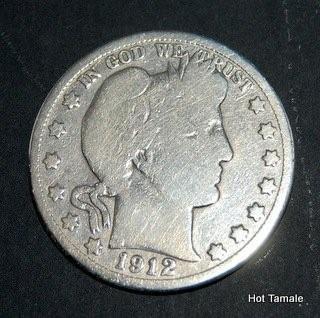 1912-S BARBER SOLID 90% SILVER HALF DOLLAR S mint d7