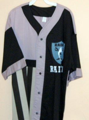 Custom Made Silk Screen Mens Raider Button Up Base ball style shirt