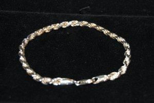 Italian .925 Sterling Silver Mens Rope Silver Bracelet