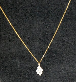 Gold Tone Chain & Opal Pendant Estate Lot #223
