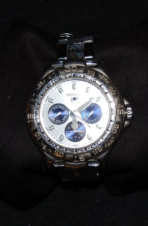 Silver Stainless Steel  Mens Fossil Blue Wrist Watch Chronograph
