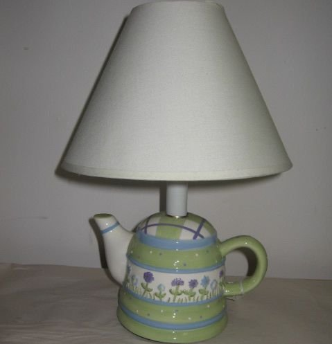 Spring Flowers Green Purple White Porcelain Teapot Lamp