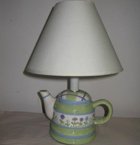Spring Flowers Green Purple White Porcelain Teapot Lamp
