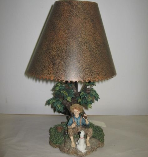 Little Boy & Dog Under Tree Lamp Base Metal Shade