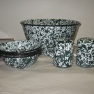 Green & White Enamelware Popcorn Bowls, S&P Shakers