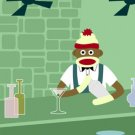Sock Monkey Martini Shaker Bar Original Pop Art Print
