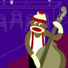 Sock Monkey Jazz Bass Player Original Pop Art Print