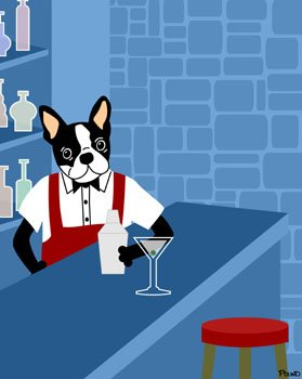 Boston Terrier Martini Cocktail Shaker Pop Art Print