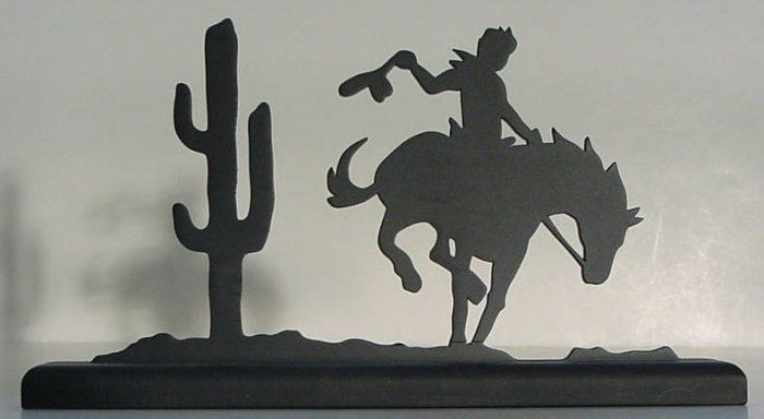 CoCowboy on a Bucking Bronco Decorative Wood Silhouette