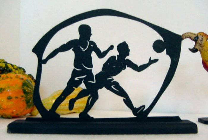 Scrambling For the Ball on the Basketball Court Wood Silhouette