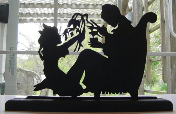 Mother and Child-Victorian Decorative Silhouette Nice!