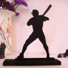 Decorative Baseball Batter Waiting for the Pitch Wood Silhouette