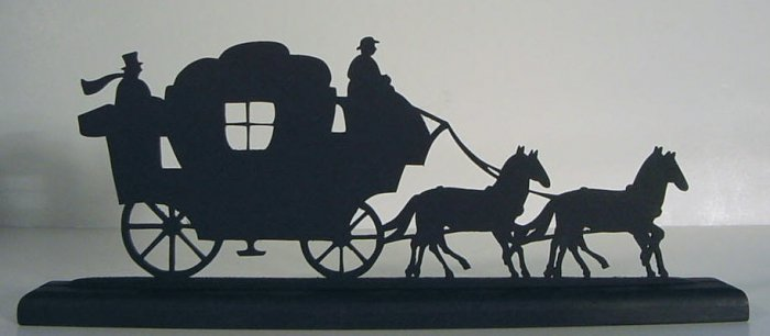 Stage Coach and Horse Team Decorative Wood Silhouette