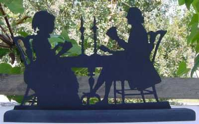 Victorian Couple Playing Cards Wood Silhouette