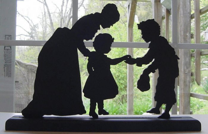 Woman, Child and Beggar Victorian Style Hand-cut Decorative Silhouette