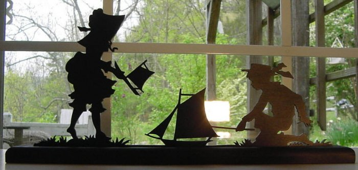 Boy, Girl Playing With Toy Boats Hand-cut Decorative Wood Silhouette