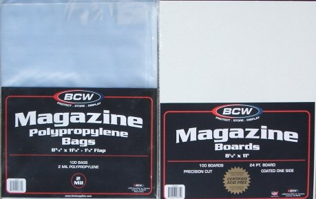 (100) BCW MAGAZINE SIZE BAGS & BACKING BOARDS