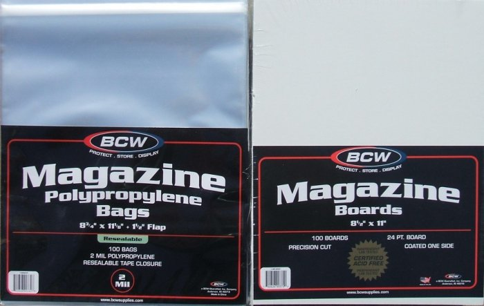 (100) BCW RESEALABLE MAGAZINE SIZE BAGS & BACKING BOARDS