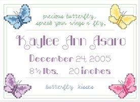 Butterfly Birth Sampler