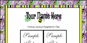 Auction Template Bumblebee Yellow Black Pink Purple Green