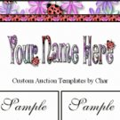 Auction Template Ladybug Purple Pink & Green Flower