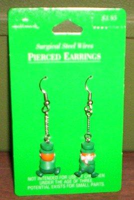 St Patrick Leprechaun Pierced Earrings  HALLMARK
