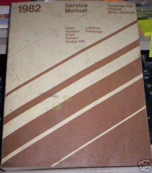 1982 Service Manual, chrysler, Omni, Horizon, Aries etc