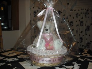 Dipped Scented Bear, Baby Powder 6 inch It's A Girl