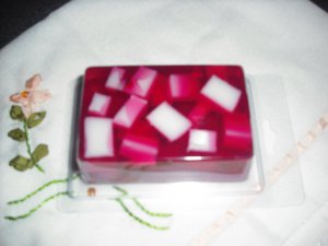 Hand Made Rectangle Shaped Chunky Soap, Red in Color You Choose Scent