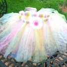 Hand Made TUTU Skirt With Flower Easter Colors 18 Months - 2T