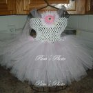 Hand Made TUTU Dress,  Light Pink & White