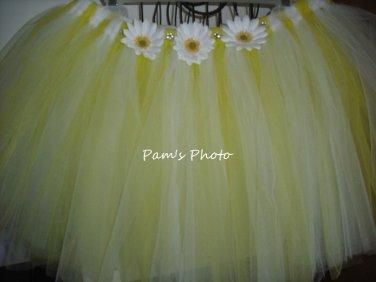 Hand Made TUTU Skirt,  Yellow & White