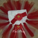 Hand Made Red & White TUTU Skirt With Matching Head Band 12 - 24 months