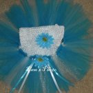 Hand Made Blue & White TUTU Skirt With Matching Head Band 12 - 24 months