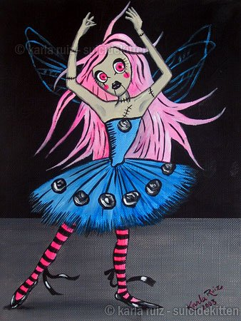 Blue Ballerina with Black Roses Gothic Fantasy Fairy Girl with Tutu Dress Neon Pink Eyes Art Print