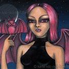 Batty and Matt Big Eyed Demon Fairy Girl with Pink Pet Bat Gothic Fantasy Art Print