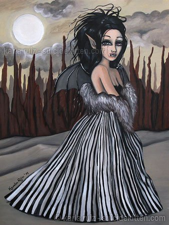 Desolate Melody Big Eyed Demon Girl Striped Gown Silver Fur Boa Surrealism Fantasy Art Print