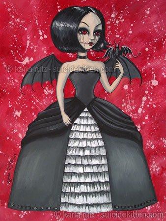 Raven Elegant Gothic Lolita Dark Angel Demon Girl Black White Gown Pet Bat Fantasy Art Print