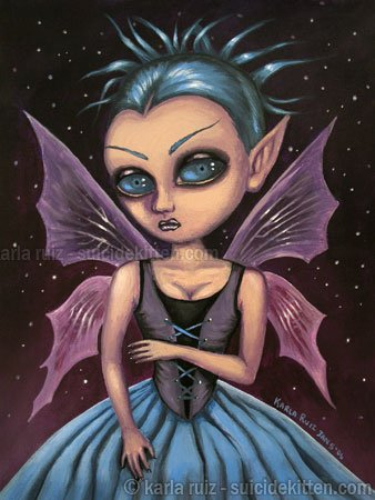 Twilight Fairy Dark Fantasy Midnight Pixie Fairy Girl with Corset Creepy Surreal Art Print